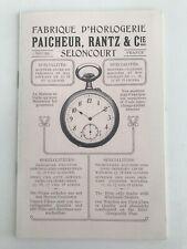 DOCUMENT FABRIQUE D'HORLOGERIE MONTRE DE POCHE PECHEUR RANTZ & Cie SELONCOURT