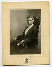 Antique 1900s Sol Young Cabinet Photo Young Man Sitting Costume Suit Aristocrat