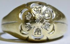 14K Solid 2-Tone Yellow & White Gold Floral Diamond Dome Ring Size 8.5