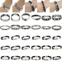 Punk Men Women Stainless Steel Black Rubber Bracelet Bangle Wristband Cuff Chain