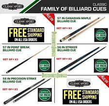 "SET OF 3 classic sport  57'' 58"" Canadian Maple /STRIKER Billiard Pool Cue Stick"
