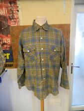 Vintage 1950s Woolrich Wool Blue White & Green Plaid Shirt - L