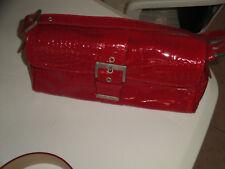 borsa donna borsetta in ecopelle vernice rosso stampa cocco da spalla piccola