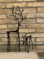 Pottery Barn Sculpted Reindeer Bronze Small Medium Deer Stag Christmas Decor