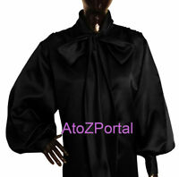 Women Black Satin Vintage style long sleeve Bow Blouse Top High Neck Shirt