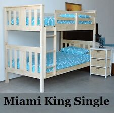 MIAMI DELUXE KING SINGLE TIMBER BUNK BED IN A WHITE WASH DESIGNER BRUSH FINISH