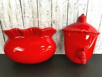 Vtg Ceramic Wall Hanging Fountain Water Spout Spicket & Wall Planter Red MCM