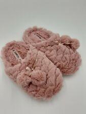 Brand New George Women's Slippers Pink Fluffy UK 3/4 Small Pom-Poms Non Slip