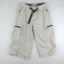 Point Zero Mens 32 Cargo Shorts Beige Elastic Waist Belted Zippered Pockets Poly