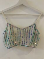 TURQUOISE SEQUIN CROP TOP 8 GLAM FESTIVAL BEACH HOLIDAY SUMMER IBIZA MARBS CUTE