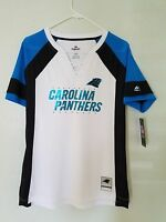 NEW MAJESTIC NFL Team Apparel CAROLINA PANTHERS  V-Neck Jersey Shirt Womens NWT