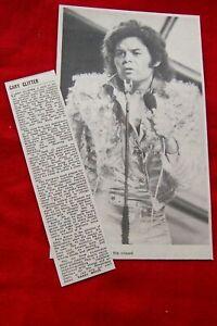GARY GLITTER 1972 VINTAGE GIG CONCERT REVIEW CLIPPING MELKSHAM ASSEMBLY HALL