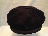 MENS BLACK COTTON CORD 8 PIECE  NEWSBOY BAKER BOY PEAKED PEAKY BLINDERS CAP
