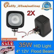 2X Square 35W 12V HID XENON LIGHT DRIVING FLOOD FOG LAMP 4WD SUV H3 BULB 4'' RAY