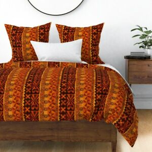 Tiki Tapa Cloth Orange Red Rust Vintage Hawaiian Sateen Duvet Cover by Roostery