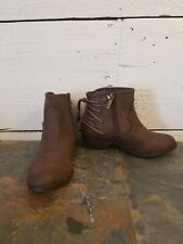 Nina Memory Foam Kids Ankle Brown Bootie Boots, Girl's Size 2 Cowboy