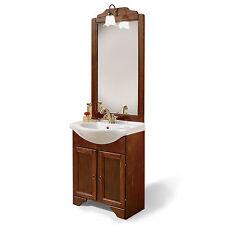 Mobile bagno arte povera legno lavabo cm65 con specchio applique arredo classico