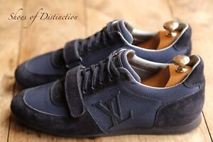 Louis Vuitton Blue Suede Leather Canvas Shoes Trainers Sneakers UK 7 US 8
