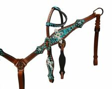 Showman TEAL CANDY STONE & ALLIGATOR Print Leather Bridle Breast Collar Rein Set