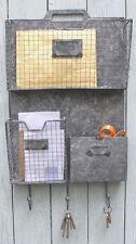 NUOVO! Grigio industriale vintage metallo Mensola Muro Lettera 3 Ganci Appendiabiti Casa Ufficio