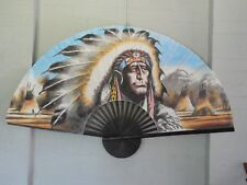"NATIVE AMERICAN Extra Large 60"" Inch HAND PAINTED ASIAN WALL FAN (151cm x 90cm)"