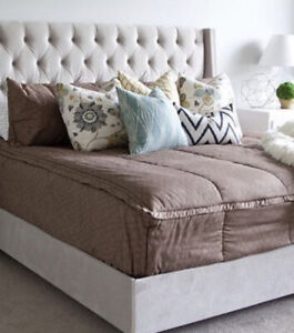 BEDDYS Touch Of Taupe Full With Minky Tan Print Zipper Bedding Set