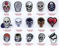 Skull head, punk head, heart skull collection Iron or Sew on Embroidered Patch