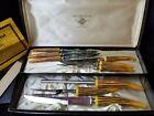 Vintage Bakelite Regent Sheffield Faux Stag Horn Knives Set of 6 & Carving Set