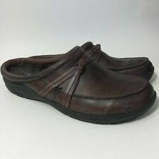 L.L Bean Womens Brown Leather Slip On Mules Size 8.5 M Casual Slides Shoes