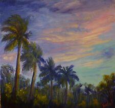 Original oil landscape painting of tropical skies