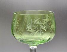 Altes Kristall Weinglas Römer mit Schliff hellgrüne Kuppa