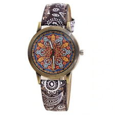 Watch Mandala Bohemian Women Girl Quartz Analog Leather Wristwatch Black