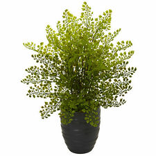 Maiden Hair Plant In Black Ceramic Pot Artificial Nearly Natural Home Decoration