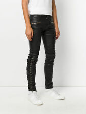 Men's Real Leather Laces Up Bikers Pants Laces Up Pants WITH FREE LEATHER BELT