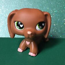 LPS Littlest Pet Shop Valentine's Dachshund Dog #556 With Green Heart Eyes