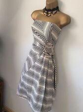 Coast 50's Inspired Black & White Striped Fit & Flare Dress UK 12 EU 40 US 8