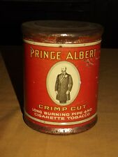 VINTAGE PIPE & CIGARETTE PRINCE ALBERT CRIMP CUT  SMOKING  TOBACCO TIN CAN