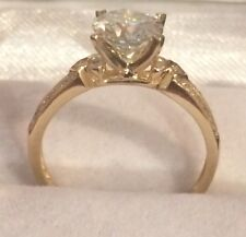VVS2 1.05CT  Moissanite Ring &Natural Diamond Accents Yellow Gold