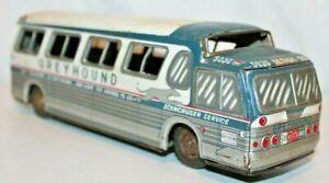 "1955 # 5030 Detriot GREYHOUND SCENICUISER BUS Yanoman Japan Tin Friction Toy~10"""