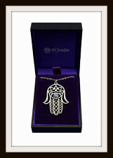 HAMSA HAND PEWTER NECKLACE PENDANT ~ FROM ST JUSTIN ~ FREE P&P ~ MADE IN THE UK