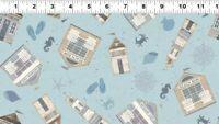 Clothworks Beach House Y2631-87 Tossed Allover Light Denim cotton quilt Fabric