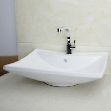 Bathroom Rectangular White Ceramic Washing Basin Sink Mixer Chrome Faucet Taps