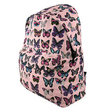 Ladies Butterfly Canvas Backpack Rucksack School Travel Laptop Bag Light Pink