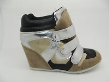 NEW LADIES GIRLS EX STORE FAUX SUEDE / LEATHER WEDGE TRAINER SHOE BOOTS SZ 3 - 8