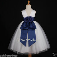 WHITE/NAVY BLUE WEDDING PAGEANT PARTY FLOWER GIRL DRESS 12M 2 3/4 5/6 8 10 12