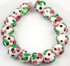 Lampwork Glass Beads Handmade White Pink Flower Black Dot Jewelry Making Craft