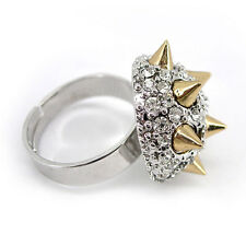 Twinkling Punk Spike Use Austria Crystal 18K White Gold-Plated Adjustable Ring
