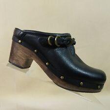 JOHNSTON MURPHY Womens Clogs Mulls Slides Black Leather Size 7.5  #E57