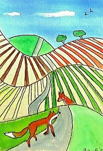 ACEO original miniature painting 'Over the Hills' 1 By AlisonE