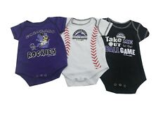 Colorado Rockies Official Mlb Baby Infant Size 3 Piece Creeper Bodysuit Set New